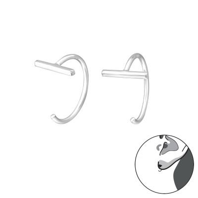 Silver Bar Ear Hoops