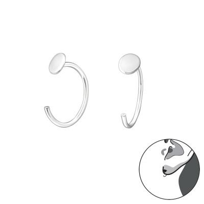 Silver Round Ear Hoops