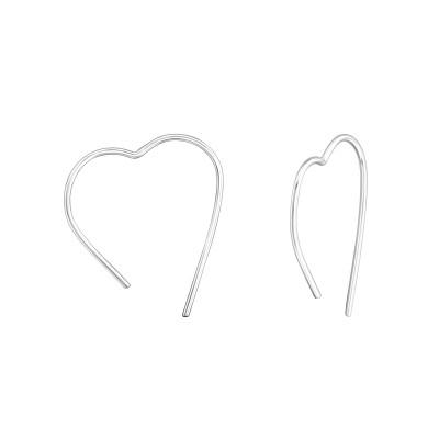 Silver Heart Ear Hoops