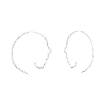 Silver Face Ear Hoops