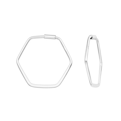 Silver Hexagon Ear Hoops