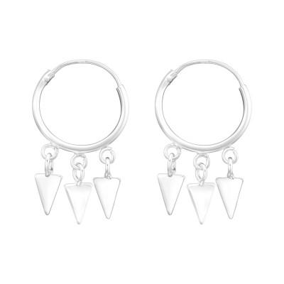 Silver Ear Hoops with Hanging Triangles