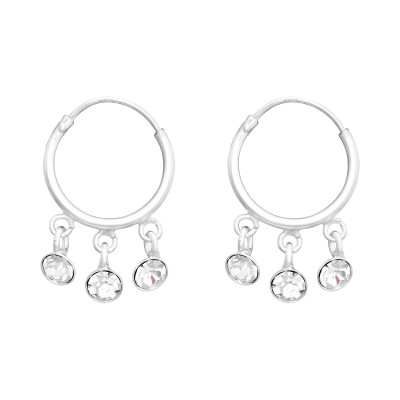 Silver Ear Hoops with Hanging Crystals