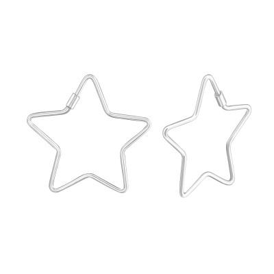 Silver Star Ear Hoops