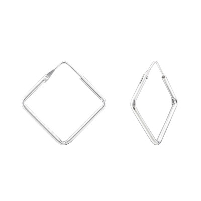 Silver Square 20mm Ear Hoops