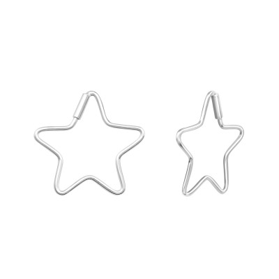 Silver Star Ear Hoops