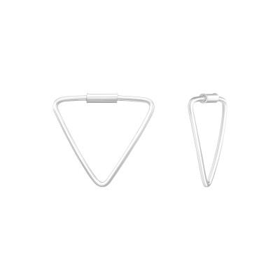 Silver Geometric Ear Hoops