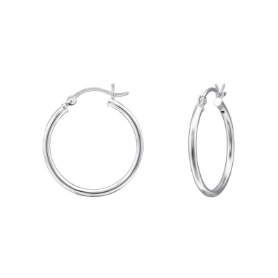Silver 25mm Ear Hoops with French Lock