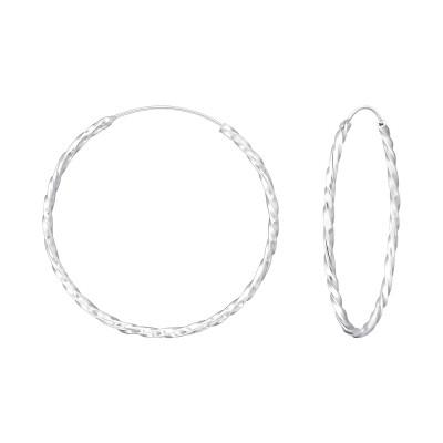 Silver Twisted 35mm Ear Hoops