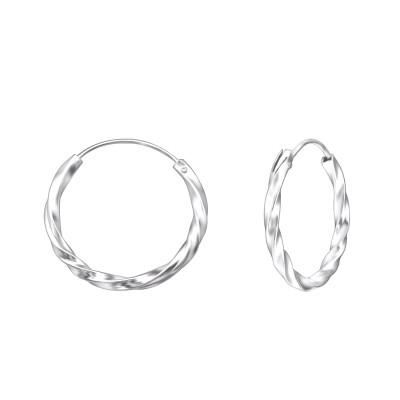 Silver Twisted 20mm Ear Hoops