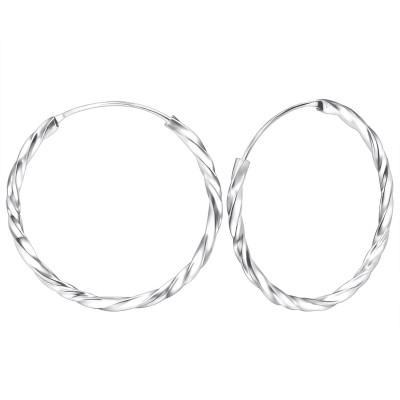 Silver Twisted 30mm Ear Hoops