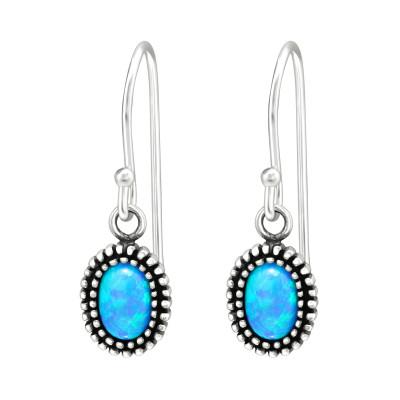 Silver Oval Earrings with Opal