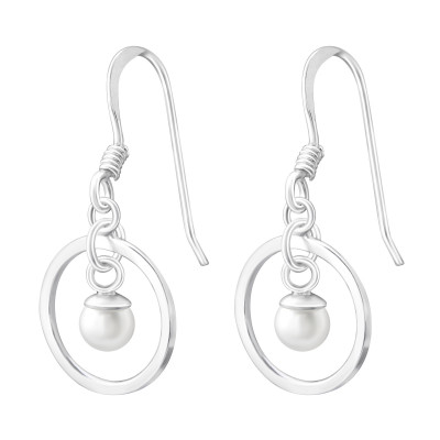 Silver Circle Earrings with Synthetic Pearl