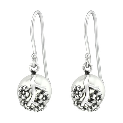 Silver Flower Earrings with Synthetic Pearl