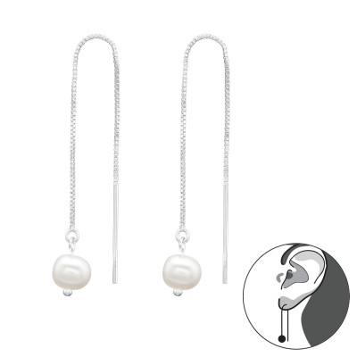 Silver Thread Through Earrings with Flash Watet Pearl