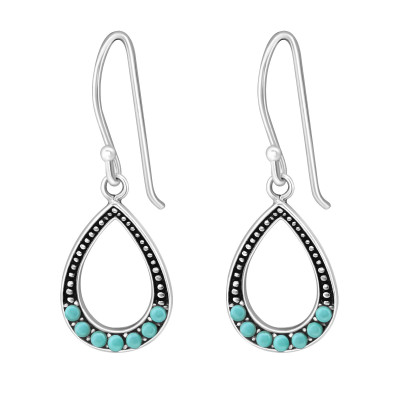 Silver Drop Earrings with Synthetic Pearl