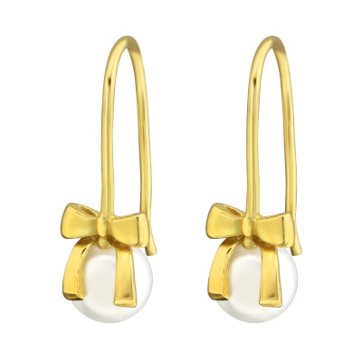 Silver Bow Earrings with Synthetic Pearl