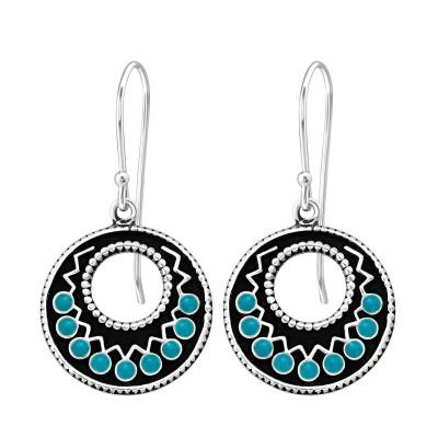 Silver Ethnic Earrings with Epoxy