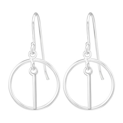 Silver Earrings with Hanging Circle Bar