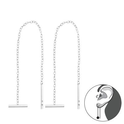 Silver Thread Through Bar Earring