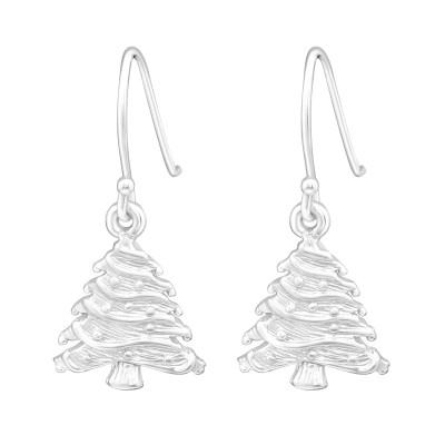 Silver Xmas Tree Earrings