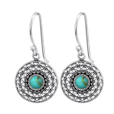 Silver Ethnic Earrings with Imitation Stone