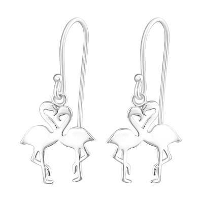 Silver Flamingo Couple Earrings