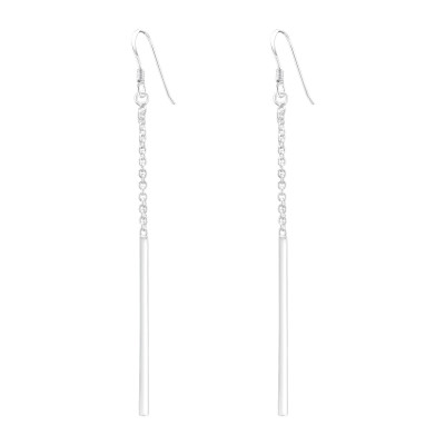 Silver Bar with Hanging Chain Earrings