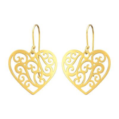 Silver Laser Cut Heart Earrings