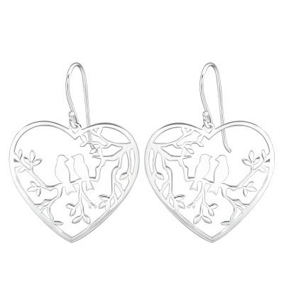 Silver Laser Cut Love Birds Earrings