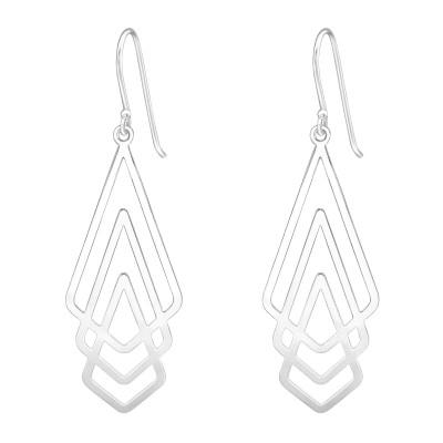 Silver Laser Cut Geometric Earrings