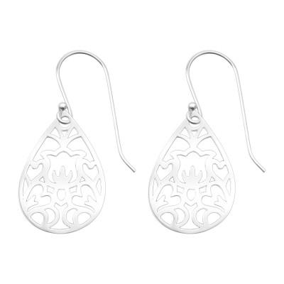 Silver Laser Cut Flower Earrings