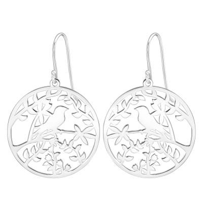 Silver Laser Cut Bird Earrings