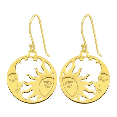 Silver Laser Cut Moon and Sun Earrings