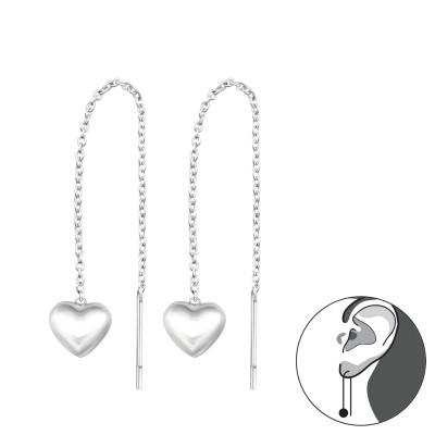 Silver Thread Through Heart Earrings