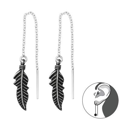 Silver Feather Thread Through Earrings
