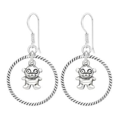 Silver Bear Dangle Ear Hoops