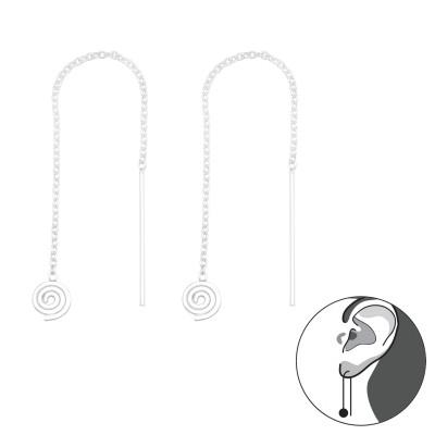 Silver Thread Through Spiral Earrings