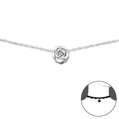 Silver Rose Choker