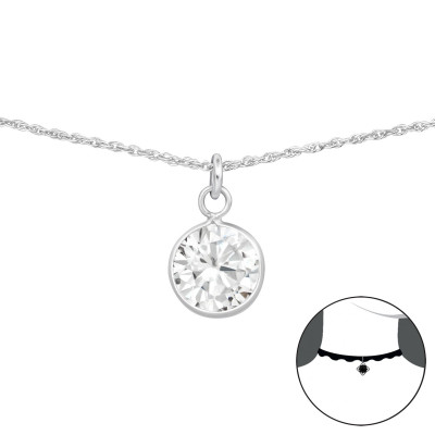 Silver Round Choker with Cubic Zirconia