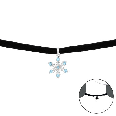 Silver Snowflake Choker with Cubic Zirconia