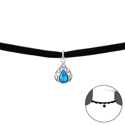 Silver Pear Choker with Opal