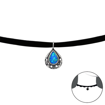 Silver Antique Pear Choker with Opal