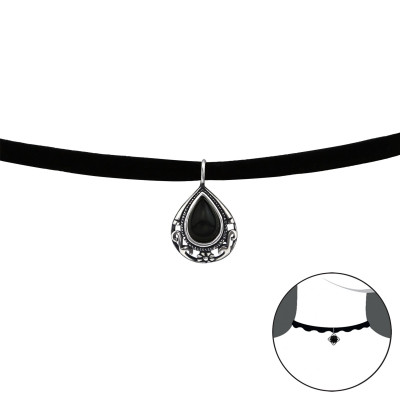 Silver Pear Choker with Imitation Stone