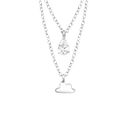 Silver Cloud Layer Necklace with Cubic Zirconia