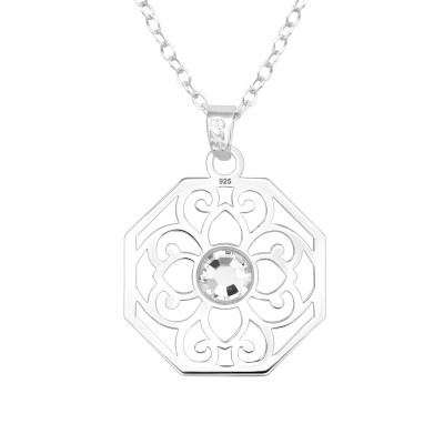 Silver Laser Cut Flower Necklace with Crystal