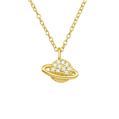 Silver Saturn Necklace with Cubic Zirconia