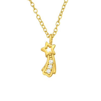 Silver Shooting Star Necklace with Cubic Zirconia