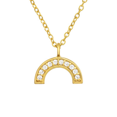 Silver Semicircle Necklace with Cubic Zirconia