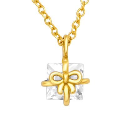 Silver Gift Box Necklace with Cubic Zirconia